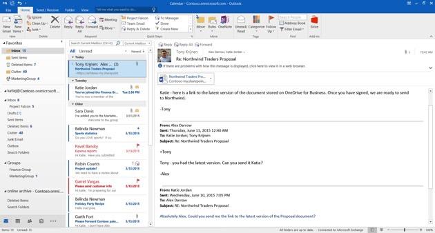 Outlook 2016 - OneDrive